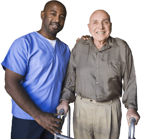 elderly man with his caregiver smiling